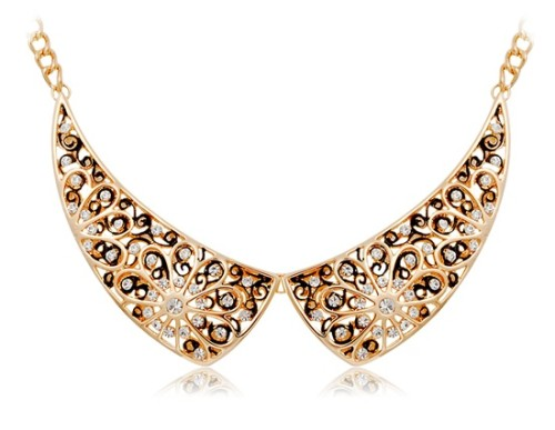 D-L-18K-RGP-Plated-Alloy-White-Rhinestone-Decoration-Stylish-Necklace-Golden-M--ID74355