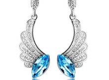 Swarovski Blue Crystal Tear Diamond Wing Dangle Earrings