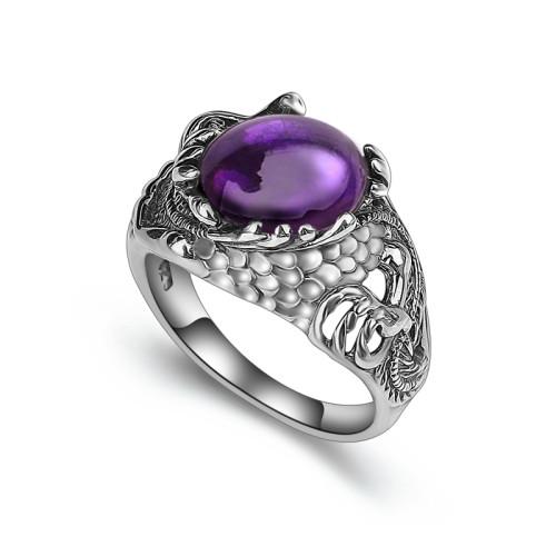 Мужской серебряный перстень с аметистом: роскошь