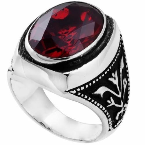 garnet-stone-men-silver-ring