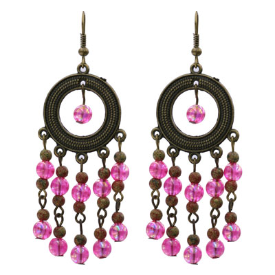 just-bling-bronze-and-fuchsia-beaded-dangling-earrings
